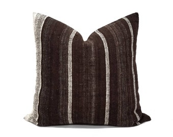 "20"" dark brown indian wool pillow cover"