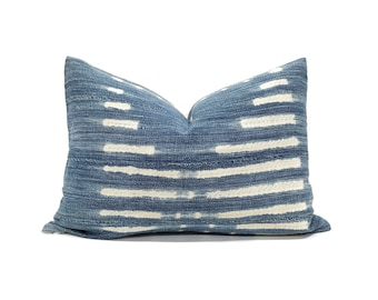 "14""×20"" indigo mudcloth pillow cover"