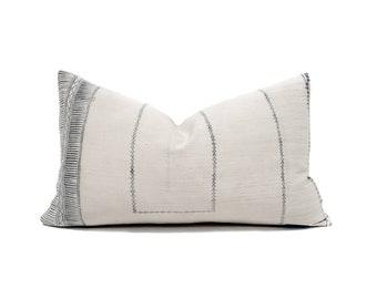 """11""""×18"""" Hmong grey print hemp linen pillow cover"""