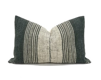 "13""x19"" greenish grey indian wool pillow cover"