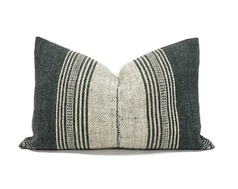 """Indian wool pillow cover, 12""""x18.5"""" greenish grey indian wool pillow cover, stripe pillow"""