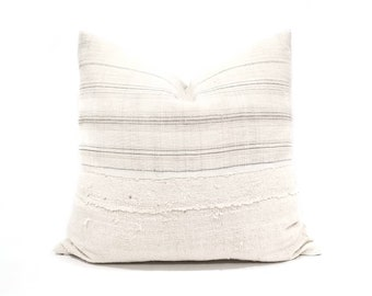 "20"" cream w/ grey stripe hmong hemp linen + mudcloth pillow cover"