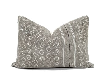 "14""×20"" grey(olive & beige undertone) Chinese wedding blanket pillow cover"