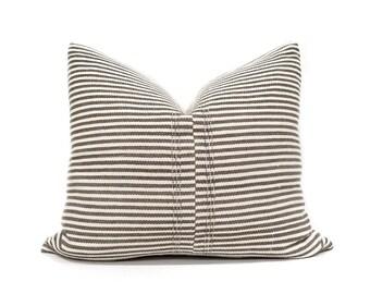 "18""x21"" brown stripe Asian textile cotton pillow cover"