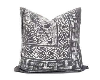 "19"" Gray Chinese batik pillow cover"