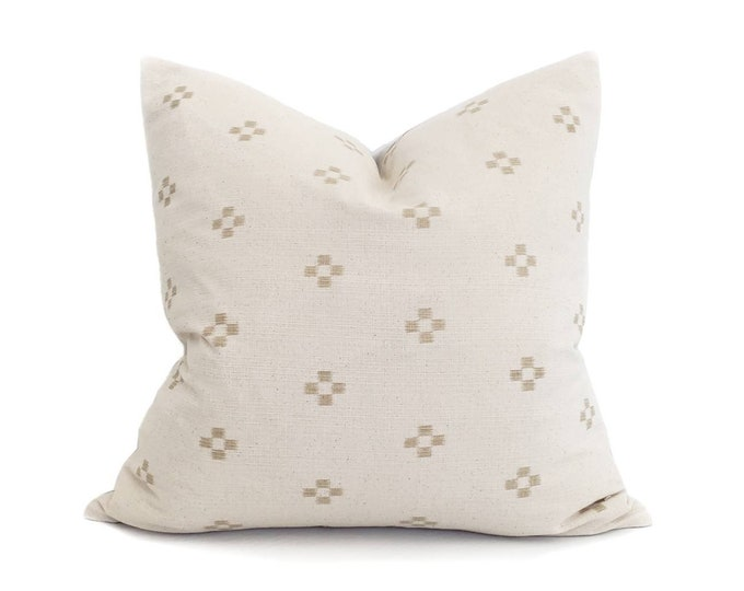 """Featured listing image: Hmong pillow, 20""""& 22"""" cream/sand motif cotton pillow cover"""