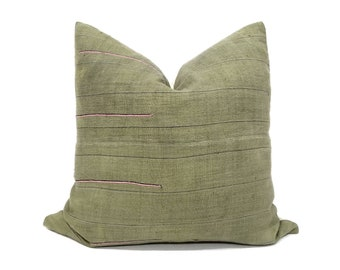 "21"" green hemp linen hmong pillow cover"