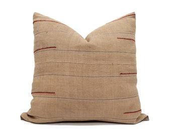 """19"""" muted saffron color hemp/cotton hmong pillow cover"""