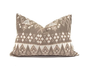 "Indonesian ikat pillow cover, 15""×22"" muted brown ikat pillow cover"