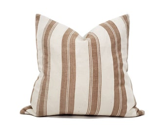 "20""& 22"" muted terra cotta stripe pillow cover"