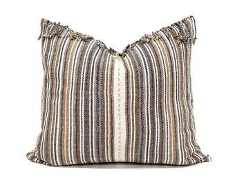 "20""×22"" fringe on top brown/camel/indigo stripe Asian textile cotton pillow cover"