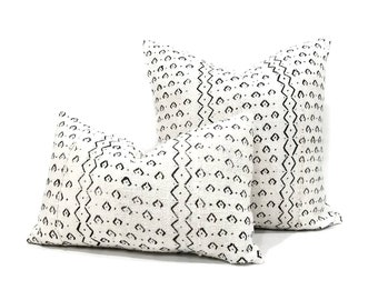 Cream w/ black print mudcloth pillow cover in various sizes