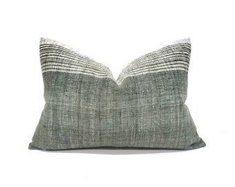 """13""""x21 muted green Indian wool pillow cover"""