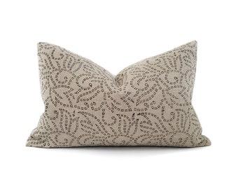 Various lumbar sizes black batik block printed on flax linen pillow cover