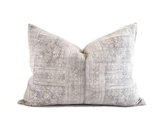 """19""""×26"""" XXL lumbar grey hmong batik hemp linen pillow cover"""