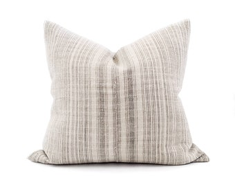 "20""×21"" grey stripe hmong hemp pillow cover"