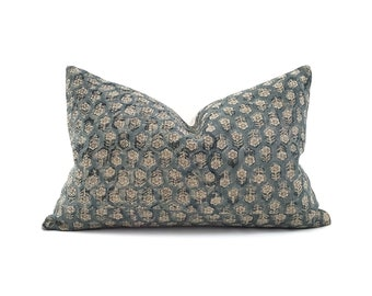 Various lumbar sizes teal small flower batik block printed linen pillow