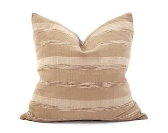 Various sizes tan textured stripe cotton pillow cover