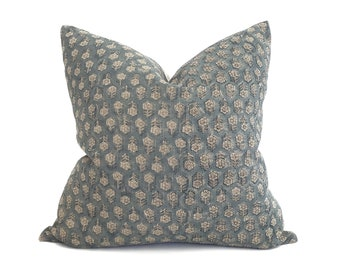 "18""-24"" teal small flower batik block printed linen pillow"