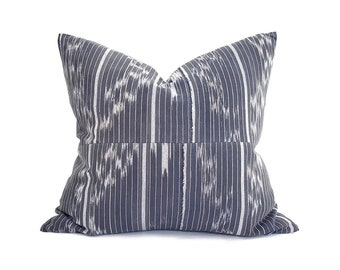 """18.5""""×20"""" navy African fine weave ikat pillow cover"""