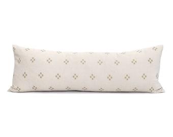 "13""×35"" XL lumbar cream/sand cotton pillow cover"