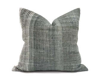 """21"""" muted green Indian wool pillow cover"""