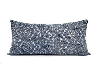 "14""×27"" indigo Chinese wedding blanket pillow cover"