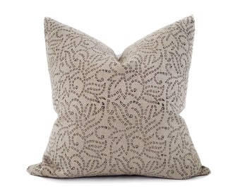"18""- 24"" square black batik block printed on flax linen pillow"