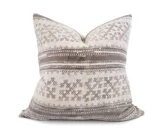 "23"" grey batik print hmong cotton/hemp linen pillow cover"
