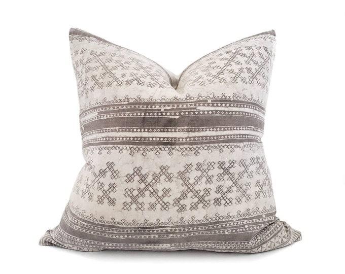 "Featured listing image: 23"" grey batik print hmong cotton/hemp linen pillow cover"