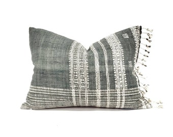 """14""""×20"""" fringe on side muted green Indian wool pillow cover"""