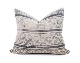 "18""×20"" charcoal batik print hmong hemp linen pillow cover"