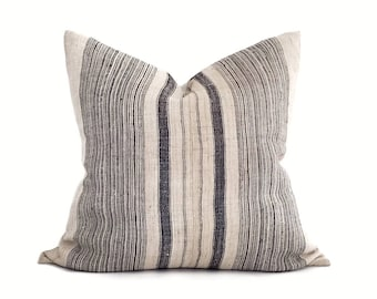 "24"" black stripe hmong hemp pillow cover, linen stripe pillow"