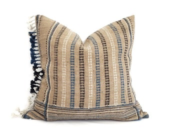 """20"""" fringe on side taupe Indian wool pillow cover"""