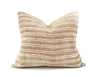 "17.5""×20"" tan stripe hmong hemp pillow cover"