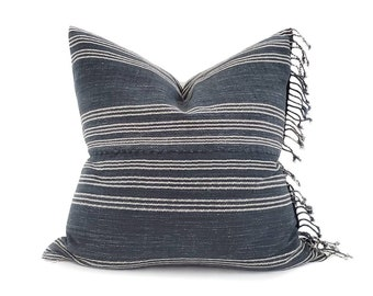"""22"""" fringe on side ink stripe Asian textile cotton pillow cover"""