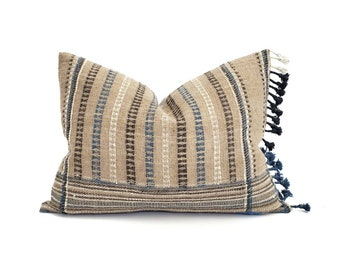 """15""""×21"""" fringe on side taupe Indian wool pillow cover"""