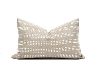 """13""""×19"""" white on flax block printed linen pillow cover"""