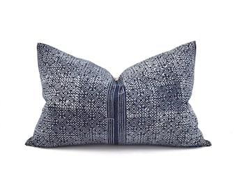 """13""""x20"""" indigo batik hmong cotton pillow cover"""