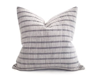 """18"""" muted blue grey stripe cotton Asian textile pillow cover"""