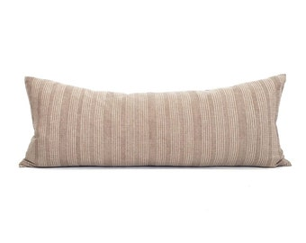 """13""""×35"""" XL lumbar taupe stitched stripe cotton bed pillow cover"""