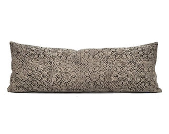 "13""×35"" black flower batik on flax block printed linen bed pillow"