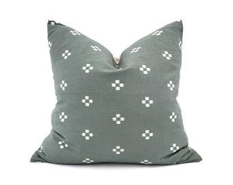 "Hmong pillow, 20"" muted dark sage motif cotton pillow cover"