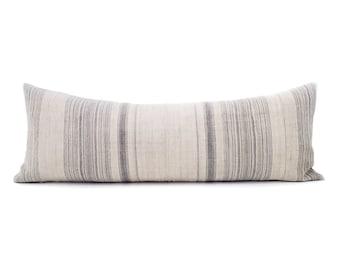 "13""×35"" blue grey stripe hmong hemp bed pillow cover"