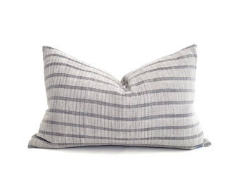 """13""""×20"""" muted blue grey stripe cotton Asian textile pillow cover"""