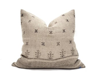 "18""-22"" black on flax block printed linen pillow"