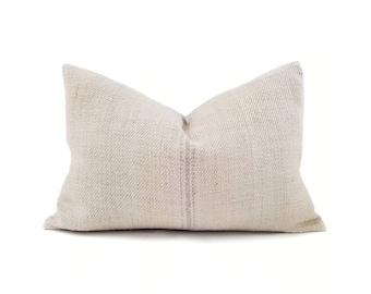 Various lumbar sizes grey stripe grainsack pillow cover