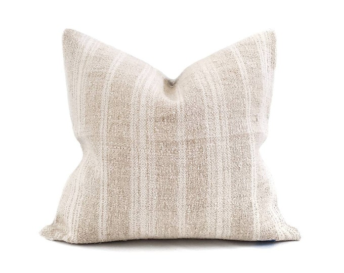 """Featured listing image: 18.5""""x 20"""" oatmeal/cream stripe heavyweight grainsack pillow cover"""