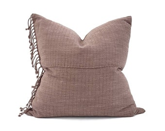 """21"""" fringe on side muted brick Asian textile cotton pillow"""