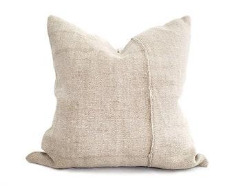 "21"" beige Turkish hemp rug pillow cover"